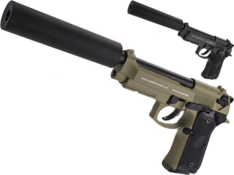 Socom Gear WE Full Metal M9A1 SOF  w/ Gemtech Trinity Airsoft Mock Silencer