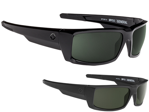 Spy Optic General Sunglasses (Model: Black Frame / ANSI RX / HD Plus Gray Green Lens)