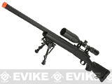 Snow Wolf US Army Style M24 Airsoft Bolt Action Scout Sniper Rifle with Fluted Barrel - Black