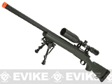 Snow Wolf US Army Style M24 Airsoft Bolt Action Scout Sniper Rifle with Fluted Barrel - OD Green