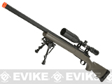 Snow Wolf US Army Style M24 Airsoft Bolt Action Scout Sniper Rifle with Fluted Barrel - Tan