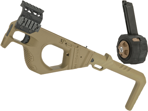 SRU 3D Printed PDW Carbine Kit for P80 Series Gas Blowback Airsoft Pistols (Color: Tan w/ Drum Mag)