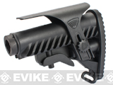 APS Shark Style Airsoft M4 Retractable Stock w/ Stock Tube and Cheek Riser - Black