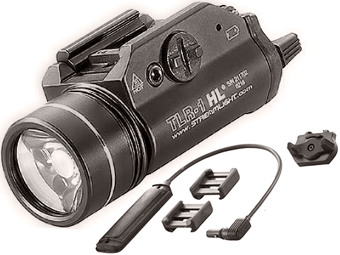 Streamlight TLR-1-HL 800 Lumen Weapon Light Long Gun Kit w/ Pressure Switch & Mounting Clips (Color: Black)