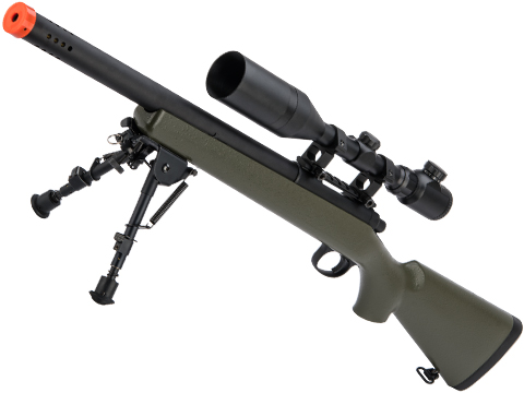 Matrix M700 VSR-10 Bolt Action Sniper Rifle w/ Bull Barrel by Snow Wolf (Color: OD Green / Short Barrel)