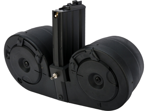RA-Tech HPA Tapped Electric Winding Drum Magazine for Gas Powered Airsoft Guns (Model: WE Open Bolt M4)