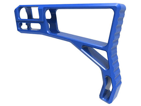 Tactical Dynamics CNC Aluminum Minimalist Skeletonized Fixed Stock for AR15 Platform Rifles (Color: Blue)