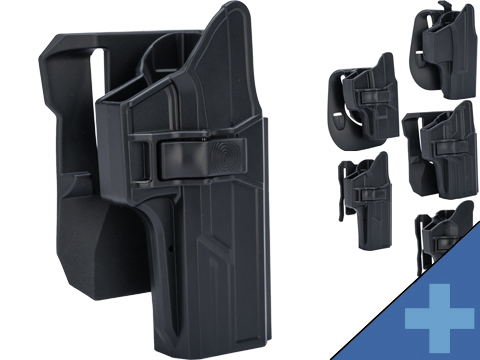 TEGE Injection Molded Hard Shell Pistol Holster (Model: GLOCK 19, 23, 32 Gen 1-4 / Right Hand / Belt Paddle / Black)