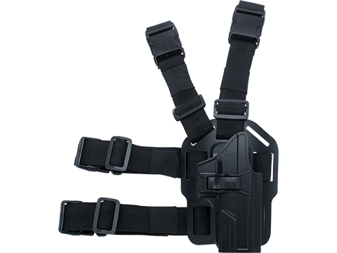 TEGE Injection Molded Hard Shell Pistol Holster (Model: GLOCK 17, 22, 31 Gen 1-5 / Right Hand / Drop Leg Platform)