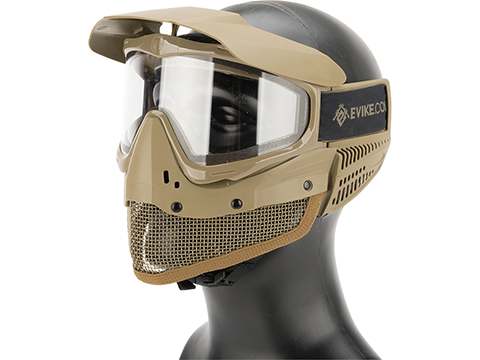 Evike Tippmann Tactical Mesh Full Seal Airsoft Mask with Fog Resistant Thermal Lens (Color: Desert Tan)