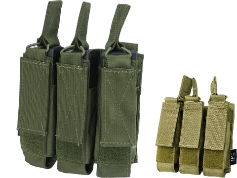 TMC Tactical MOLLE Triple SMG Magazine Pouch (Color: Black)