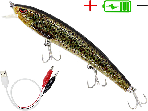 Truscend JerkQueen Electronic Twitching / Luminating Sinking Minnow Lure (Model: Yellow Trout)