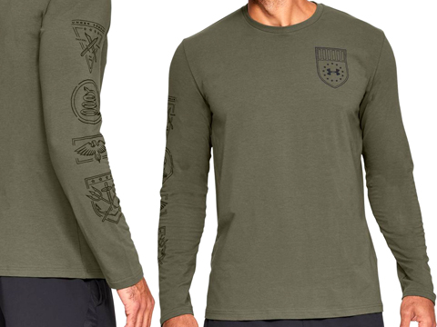 Under Armour Men's UA TAC Tactical Division Long Sleeve Graphic Shirt (Color: Marine OD Green / Medium)