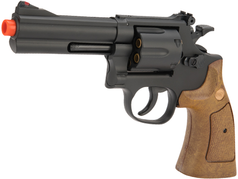 UHC 686  Heavy Weight Spring Powered Airsoft Revolvers (Length: 4 / Black with Brown Grips)