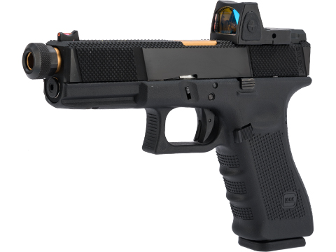 Elite Force Licensed GLOCK 17 Gen. 4 Gas Blowback Airsoft Pistol w/ EMG SAI UTILITY Modification & Red Dot Pistol Sight
