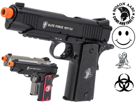 Custom Elite Force Gen 3 1911 Tactical CO2 Airsoft Gas Blowback Pistol w/ CNC Angel Custom Tac Glove Grips