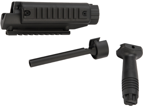 H&K Railed Handguard Kit w/ Metal Outer Barrel & Vertical Grip for MP5 Series Airsoft AEG Sub Machine Guns
