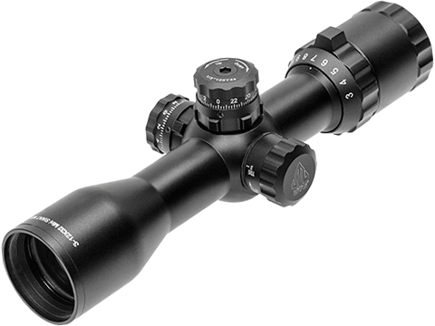 UTG BugBuster 3-12x32 Scope with Side AO and QD Rings - Mil-Dot Reticle