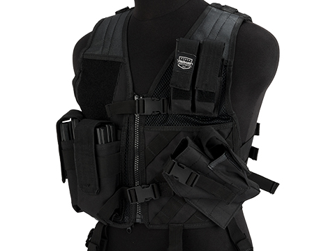 Youth Size Cross-Draw Tactical Vest by Valken (Color: Black)