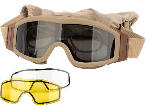 Valken V-TAC Tango Thermal Lens Goggles with Prescription Lens Insert (Color: Tan)