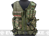 Matrix Special Force Cross Draw Tactical Vest w/ Built In Holster & Mag Pouches (Color: Digital Woodland)