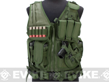 Matrix Special Force Cross Draw Tactical Vest w/ Built In Holster & Mag Pouches (Color: OD Green)