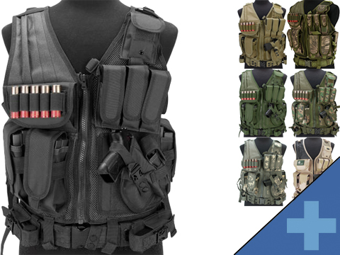 Matrix Special Force Cross Draw Tactical Vest w/ Built In Holster & Mag Pouches
