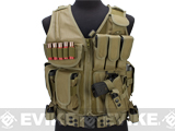Matrix Special Force Cross Draw Tactical Vest w/ Built In Holster & Mag Pouches (Color: Tan)