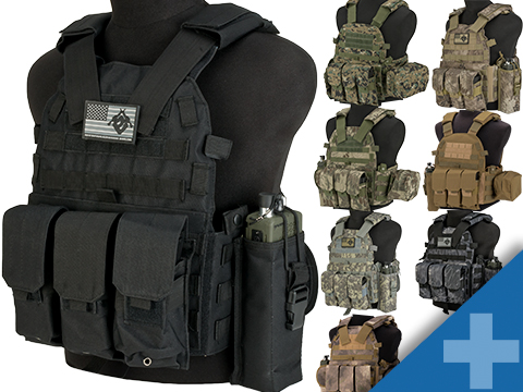 Avengers 6D9T4A Tactical Vest with Magazine and Radio Pouches (Color: Black)