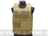 Matrix Delta Force Style Body Armor Shell Vest w/ US Flag Patch - Desert
