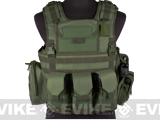 Matrix Variable Front Plate Vest w/ Integrated Pistol Holster (Color: OD Green)