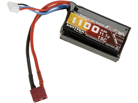 Matrix High Performance 11.1V PEQ Type Airsoft LiPo Battery (Configuration: 1100mAh / 15C / Deans)