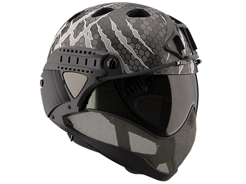 WARQ Custom Full Face Protection Helmet System (Color: Hex Attack / Clear Lens)