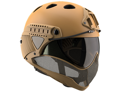 WARQ Full Face Protection Helmet System (Color: Tan-Evike / Clear Lens)