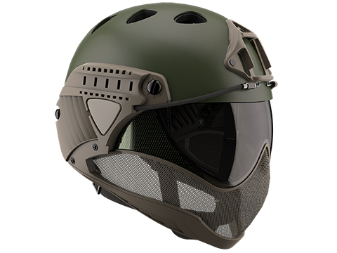 WARQ Full Face Protection Helmet System (Color: OD-Evike / Clear Lens)