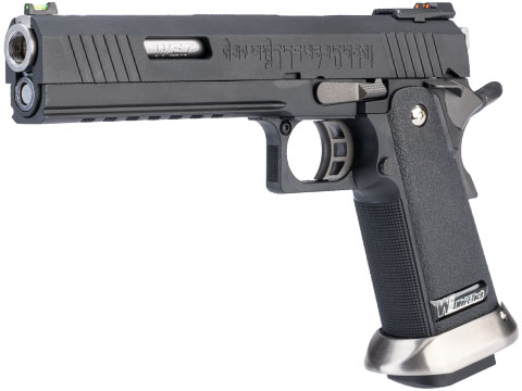 WE-Tech Hi-Capa 6 Full Auto IREX Competition GBB Airsoft Pistol (Color: Black / Silver Barrel / with Markings)