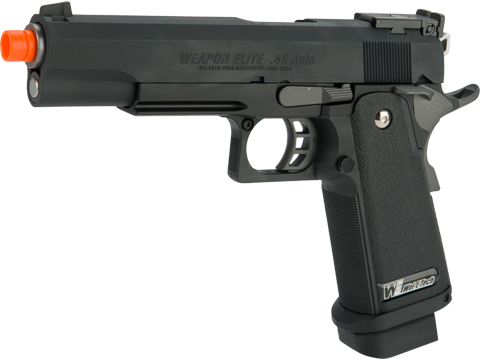 WE-USA Full Metal Hi-CAPA Airsoft Gas Blowback Pistol (Model: 5.1 Government -Black w/ Green Gas Mag)