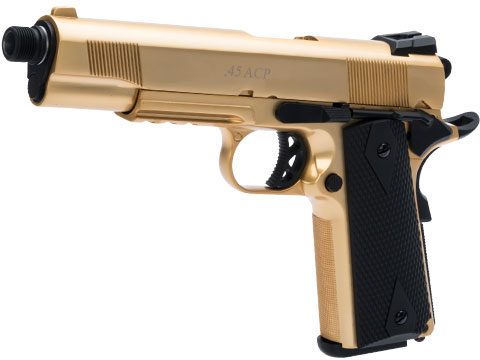 WE-USA Metal 1911 Railed Frame Heavy Weight Airsoft Gas Blowback Pistol - 24k Gold Plated