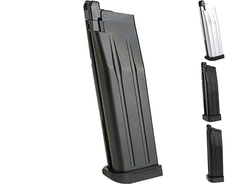 WE-Tech 30 Round Magazine for Hi-Capa Gas Blowback Airsoft Pistols (Color: Black / Long Base / Green Gas)
