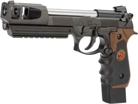 WE-Tech BioHazard Barry Burton M92 Custom GEN II Gas Blowback Airsoft Pistol (Model: Semi/Full Auto w/ Brown Grip)