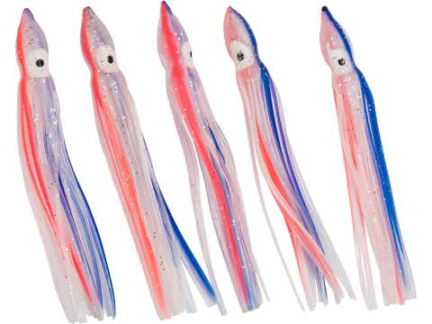Battle Angler Phantom Skirt Squid Lure (Size: 10 / Clear, Orange, Blue Stripe)