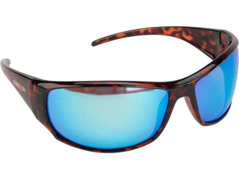 Polarized Outdoor Recreational Wraparound Sunglasses by FISHING.EVIKE (Color: Amber / Polarized Mirror Blue Lens)
