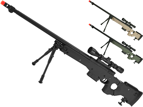 WELL G96 Gas Powered Full Size Airsoft Sniper Rifle with Scope (Color: Black)