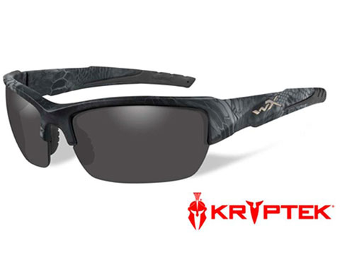 Wiley X WX Valor Polarized Changeable Sunglasses (Color: Polarized Smoke Grey lens with Kryptek® Typhon)