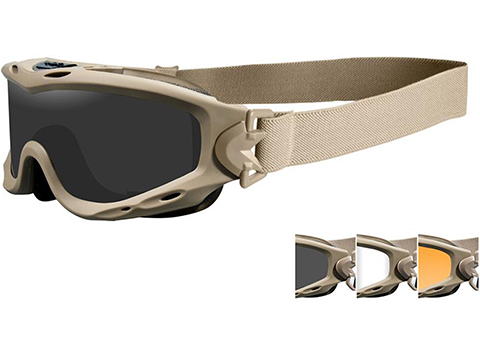 Wiley X Spear Tactical Goggle (Color: Smoke Grey, Clear, and Rust Lens w/ Tan Frame)