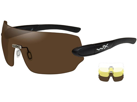 Wiley X Detection Shooting Glasses (Color: Clear, Copper, Yellow Lens / Matte Black Frame)