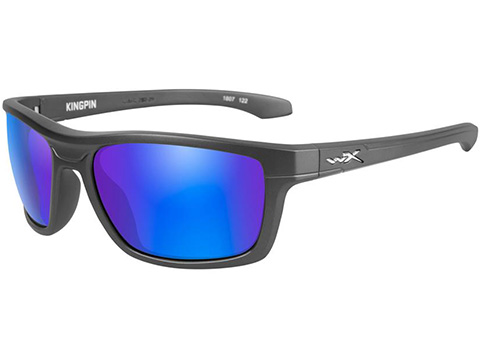 Wiley X KingPin Sunglasses (Color: Polarized Blue Mirror Lens / Matte Graphite Frame)