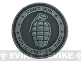 Matrix Don't Run, You'll Only Die Tired PVC IFF Hook and Loop Patch (Color: Grey)